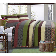 NEW! ~  CHIC COUNTRY SHABBY GREEN BLUE PINK RED PURPLE PATCHWORK SOFT QUILT SET