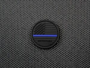USA Blackout Thin Blue Line Flag PVC Button Morale Patch Patriot Police America