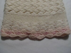 Pink/Ivory Crochet BABY BLANKET Scalloped Ruffle..DAINTY ADORABLE