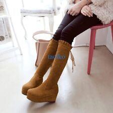 Women's Lace Up Platform Faux Suede Knee High Boots Round Toe Shoes Plus Size