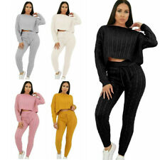 Ladies Cable Knitted Co Ord Cropped Top Suit Lounge Wear Bottoms Tracksuit