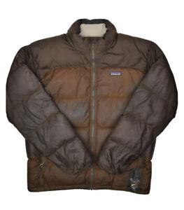 Patagonia Goose Down Puffer Jacket Mens M Brown Full Zip Coat Damaged