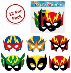 Boys Girls Superhero Card Masks, Loot/Party Bag Fillers, Fancy Dress, Costume
