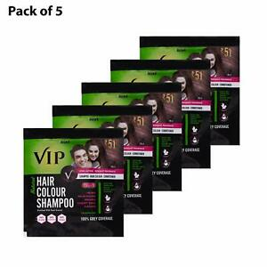 VIP Hair Color Shampoo Brown 5 in 1, 20 ml (Pack OF 5 Pouch) Free Shipping