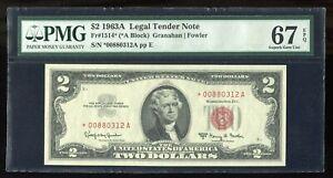 1963A $2 Legal Tender Note Fr#1514* Star Note PMG 67 EPQ Superb Gem Uncirculated