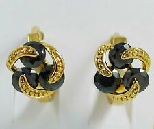 NEW! 10K GOLD GP KOREAN CRYSTAL HOOP EARRINGS (BLACK & GOLD)