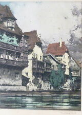 """Nürnberg.Farb-Radierung ~1930 unten rechts sig.""""Rudolf Veit"""" 1892-1972. 29x22 cm"""