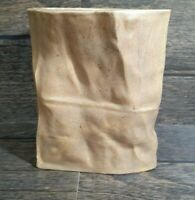 Vintage Brown Tan Paper Bag Vase Container Planter Pottery Handmade Art Crinkle