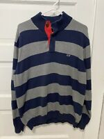 Vineyard Vines Men's Size L 1/4 Button Striped Pullover Sweeter Jacket Blue Gray