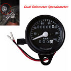 New Black Motorcycle Dual Odometer Speedometer KM/H Gauge Meter LED Backlight