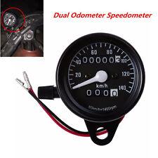 New Black Motorcycle Dual Odometer Speedometer KM/H Gauge Meter LED Backlight