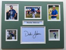 "GOLF Dustin Johnson firmato 16"" x 12"" doppio display montato"