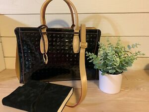 ARCADIA BLACK PATENT LEATHER SATCHEL HANDBAG