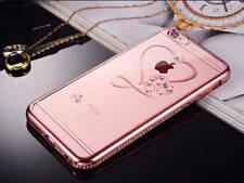 Slim Crystal Chrome Edge Bling Diamante Rhinestone TPU Silicone Phone Case Cover