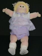 Cabbage Patch Kid Little People Soft Sculpture Girl Blonde Popcorn Hair Green