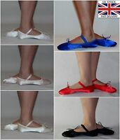 Satin Ballet Shoes Pink White Ivory Red Black Royal Blue Brides Full Sole Sizes