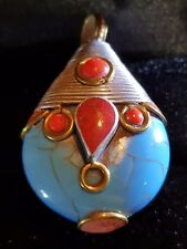 Tibetan Turquoise AND RED CORAL SILVER ROND SHAPED PENDANT