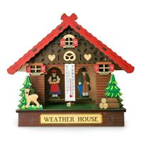 German Weather House with Fence White Forest Couple and Thermometer WeatherHouse