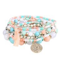 Women Ladies Boho Multilayer Metal Bracelet Beads Coin Tassel Bangle Beaded Wrap