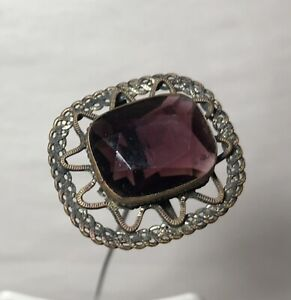 """Antique Large Amethyst Glass Hat Pin 12"""" long"""