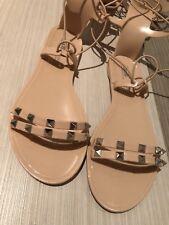 BRAND NEW WOMEN's ASOS Freeman Jelly Gladiator Flat Sandals Nude, Size UK4