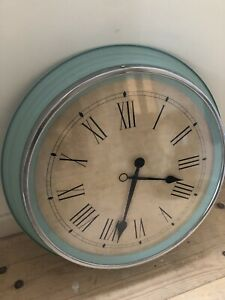 Large Wall Clock With Roman Numerals - Green