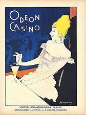 Original vintage poster print ODEON CASINO MUNICH 1920 Schnackenberg