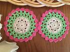 "Pair Chic Green Pink Beige Cotton Flower Hand Crochet Lace Doily Round 4"""