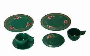 Miniature Dollhouse Chrysnbon Dinnerware Set Green 1:12 Scale New