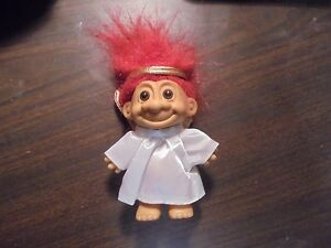 """RUSS """" Angel with Gold Wings with Red Hair"""" Troll Doll 5"""""""