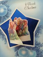 Vtg Foil Star & Fold Out 1940-50s A BLESSED CHRISTMAS GREETING CARD