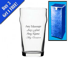 Personalised Engraved Nonic Pint Glass With Gift Box - Any Message Engraved!!