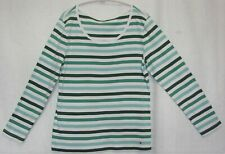 Tommy Hilfiger Long Sleeve Pullover Green & White Striped Top Shirt Size XXL