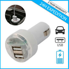 Fast Dual 2x USB Port Auto Lader Car Charger Oplader Chargeur Voiture White AAA+