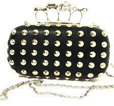 Natasha Couture Black Gold Spike Stud Skull Bow Owl Embellished Clutch Bag