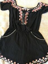 BRAND NEW Meghan LA Black Floral Embroidery Romper NWTO $291 Med