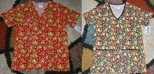 2 pc Christmas V neck Scrub Top Bottom Pockets Patch Leaves Sizes S to L