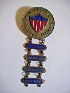 NAA JR. OLYMPIC Qualified Archers ENAMELED BRONZE MEDAL Yeoman Bowman Archer