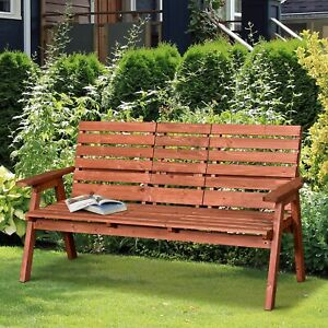 Garden Wooden Convertible 2-3 Seater Bench Companion Chair Loveseat w/Table