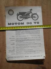 PUBBLICITA DEPLIANT ADVERTISING ORIGINALE MOTOM 98 TS VELINA RARO DESIGN T