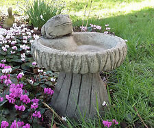 STONE GARDEN FROG BIRD BATH / LOG DESIGN BIRD FEEDER / BOWL / DISH ORNAMENT