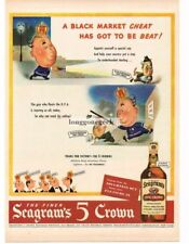 1944 Seagram's 5 CROWN Whiskey Policeman Stops Black Market poem Vtg Print Ad