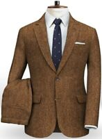Brown Men Wool Suit Two Button Herringbone Tweed Tuxedo Wedding Prom Party Suit