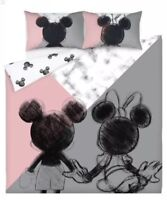 Mickey And Minnie Mouse Duvet Cover - KING Reversible Bedding Pink Grey