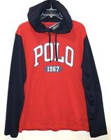 Polo Ralph Lauren Big & Tall Mens Red Blue Polo 1967 Hoodie L/S T-Shirt NWT XLT