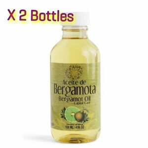 2 Bottles ACEITE DE  BERGAMOTA 100% Natural  Bergamot Oil 120 ml 4.06 Oz HAIR
