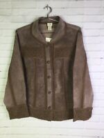 J Jill Womens Size M Brushed Suede Leather Jacket Button Up Crochet Mocha Brown