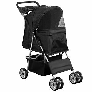 Pet Stroller Large Dog Cat Puppy 4 Wheels Folding Jogger Walk Easy Carrier Cart