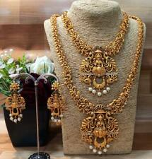 South Indian Bollywood Gold Plated Choker Long Temple Necklace Wedding Jewelry