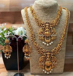 South Indian Temple Jewelry Gold Plated Choker Long Temple Necklace Wedding Set